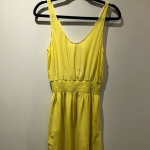BABATON by aritizia silk chartreuse dress